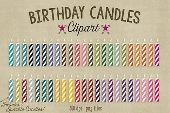 Birthday Candle Clipart, 41 Colored Candles, 5 Sparkle Gli
