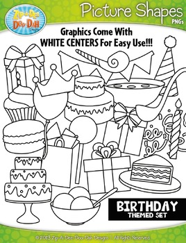 Birthday / Celebration Themed Picture Shapes Clipart Set —