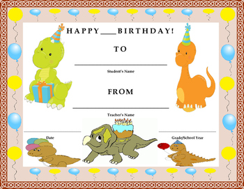 Birthday Certificate- Dinosaur Theme- Kids Will Love It!!