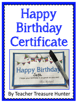 Birthday Certificate - FREE Back to School