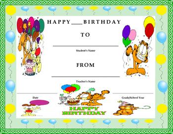 Birthday Certificate- Garfield Theme- Kids Will Love It!!