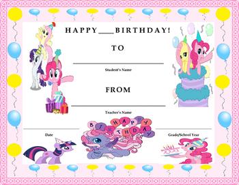 Birthday Certificate- My Little Pony Theme- Kids Will Love It!!