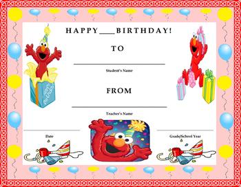 Birthday Certificate- Sesame Street Elmo Theme- Kids Will