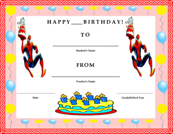Birthday Certificate- Spiderman Theme- Kids Will Love It!!