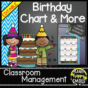 Birthday Chart & More in an Aqua and Chalkboard theme (EDITABLE)