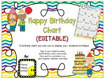 Birthday Chart in a Chevron Rainbow Print with white backg