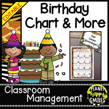 Birthday Chart in a Jungle/Safari Theme (EDITABLE)