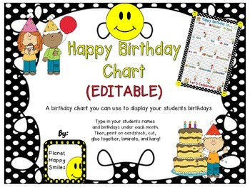 Birthday Chart in a Polka Dot B/W Print with Happy Faces (