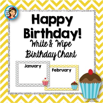 Birthday Chart (yellow and grey chevron with cupcakes) Cus