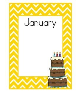 Birthday Charts, Yellow Chevron