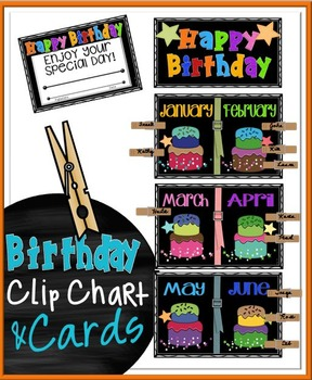 Birthday Clip Chart and Cards - Black