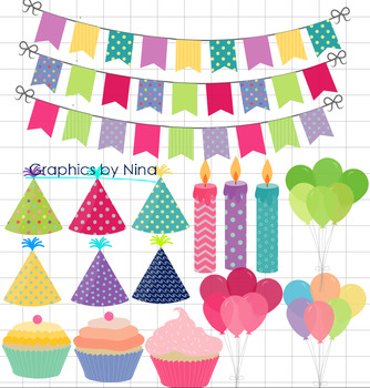 Birthday Clipart, Cupcake, candels