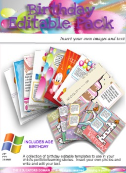Birthday Editable Learning Story Pack