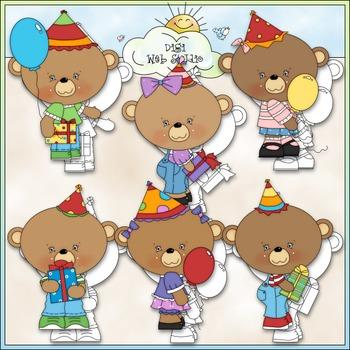 Birthday Hats Bears 1 - Commercial Use Clip Art & Black &