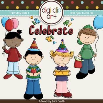 Birthday Kids 1-  Digi Clip Art - CU Clip Art