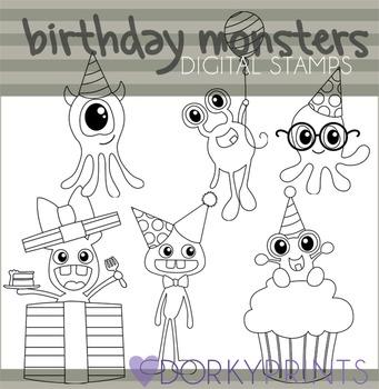 Birthday Monsters Black Line Clip Art