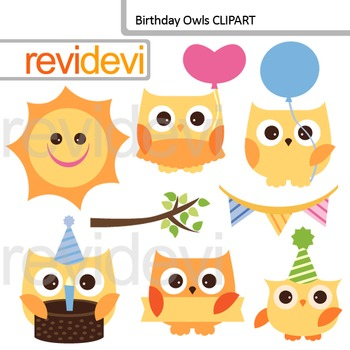 Birthday Owls Clip art