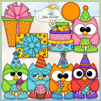 Birthday Owls Clip Art - Birthday Clip Art - Party Clip Ar