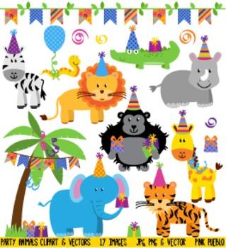 Birthday Party Animals Clipart Clip Art, Zoo Jungle Safari