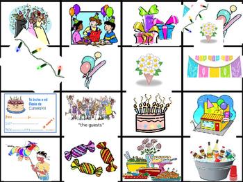 Birthday Party Flash Cards (Realidades 1/B Ch.5A)