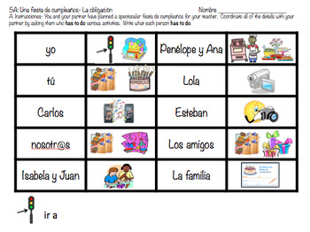 Birthday Party IGA- Obligation- Tener que + infinitive (Re