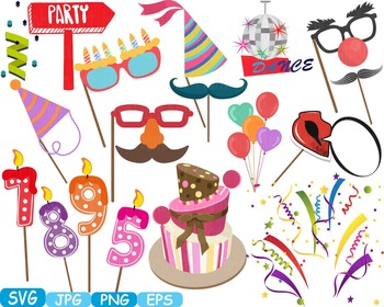 Birthday Party Photo Booth Props Candles Numbers clip art