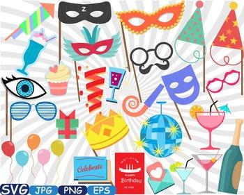 Birthday Party Photo Booth Props clip art Celebration happ