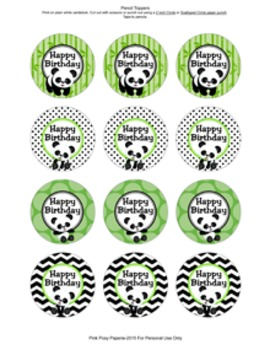 Birthday Pencil Toppers Panda Theme