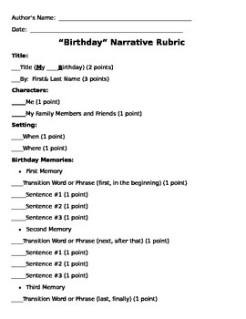 Birthday Personal Narrative Teacher Assessment Rubric