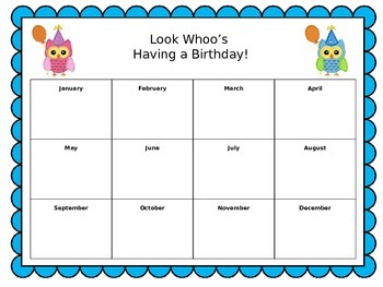 Birthday Poster for Classroom