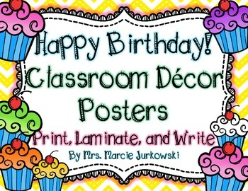 Birthday Posters Back to School Classroom Decor Chevron an