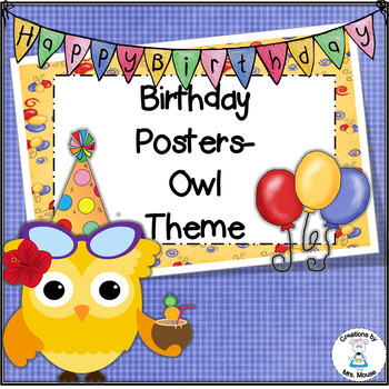 Birthday Banners/Posters - Owl Theme