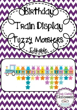Birthday Train Display Fuzzy Monsters - Editable