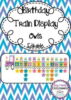 Birthday Train Display Owls - Editable