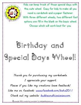 Birthday/Special Days Wheel