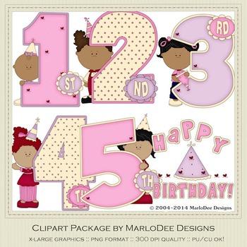 Birthday Years Girls Clip Art Graphics Set 2 by MarloDee Designs