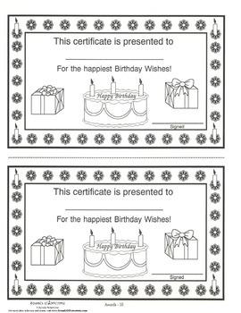 Birthday Award Certificate