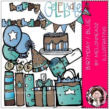 Melonheadz: Birthday clip art - Blue - COMBO PACK