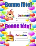 French Birthday certificates - Bonne fête!