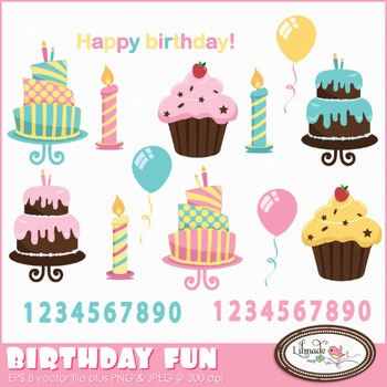 Birthday fun clip art, birthday cakes, baking clip art, ce