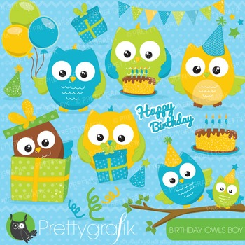 Birthday owl clipart commercial use, vector graphics, digi