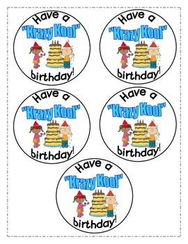 """Birthday tags for your """"Krazy Kool"""" students"""