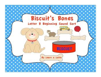 Biscuit's Bones - Letter B Beginning Sound Sort (Color and