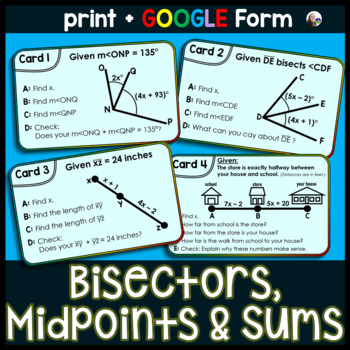 Angle Task Cards: Solving for Bisectors, Midpoints and Who