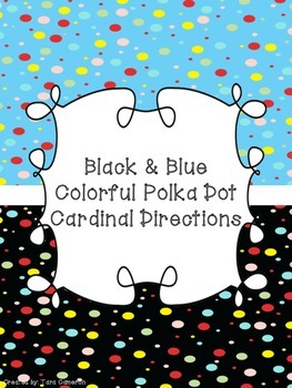 Black & Blue Colorful Polka Dot Cardinal Directions