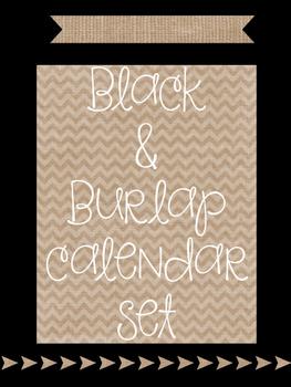 Black & Burlap Calendar Set