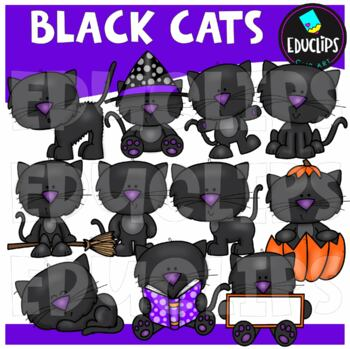 Black Cats Clip Art Bundle {Educlips Clipart}