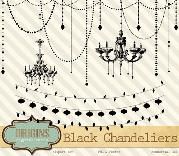Black Chandeliers and String Lights Halloween Vector PNG clipart