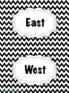 Black Chevron Cardinal Direction Cards