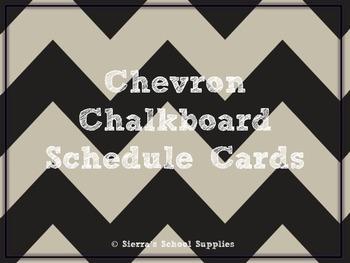 Black Chevron Chalkboard Schedule Cards